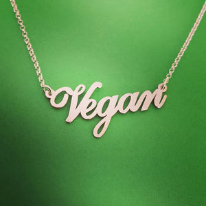 """Vegan"" Necklace with Silver Plated Letters"