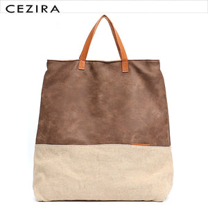Large Casual Canvas Tote Bag with Vegan Leather - CEZIRA