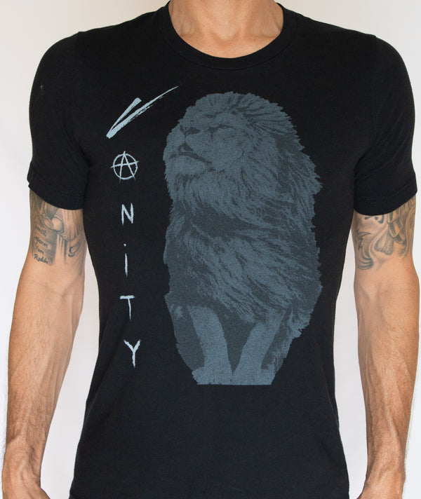 graphic print mens black t shirt - Vanity