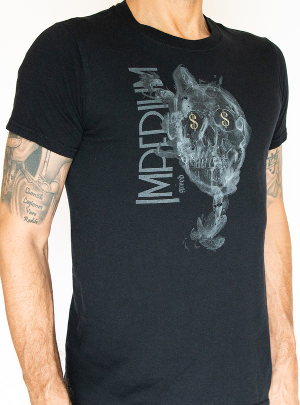 mens graphic print black t shirt - Greed