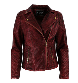 Maroon leather acid washed
