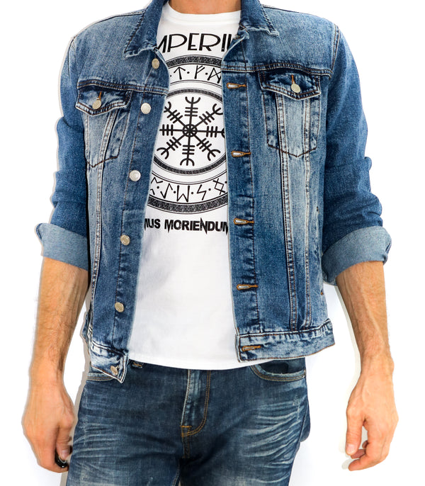 Distressed Bandana Denim Jacket