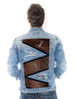 Brown Leather Trim Denim