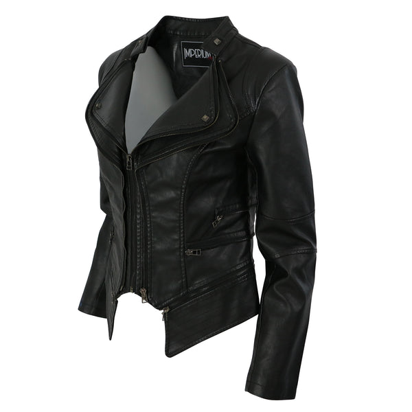 Faux leather female tapered jacket