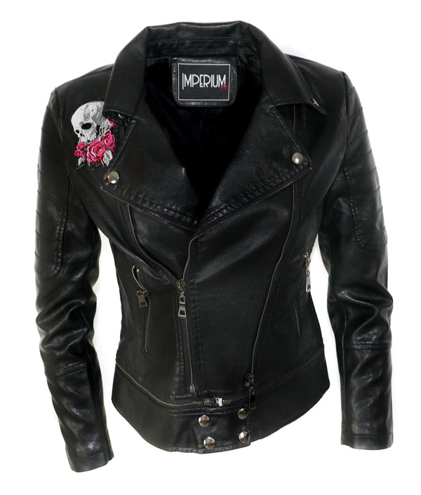 Women's biker with patch