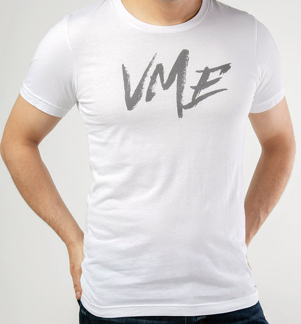 mens white VME front and back t shirt