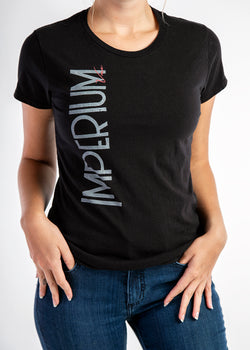 black graphic print womens short sleeve t shirt - Imperium