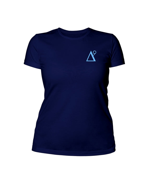 Delta 9 Women's T-Shirt - Triangle 9 Logo - Navy