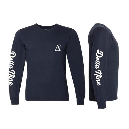 Delta 9 Men's Long Sleeve Shirt - Triangle 9 Logo - Navy