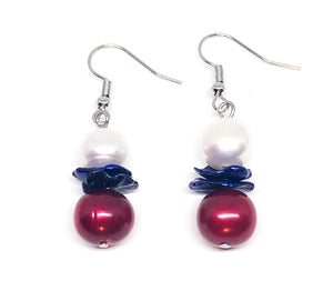 Red White and Blue Pearl Earrings!