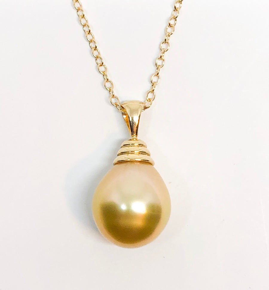 South Seas Yellow Pearl Pendant on Gold
