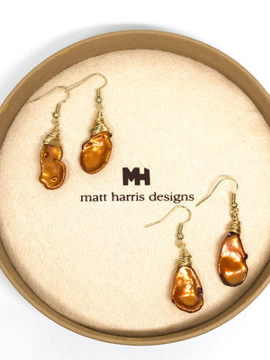 Beehive Wrapped Longhorn Pearl Earrings