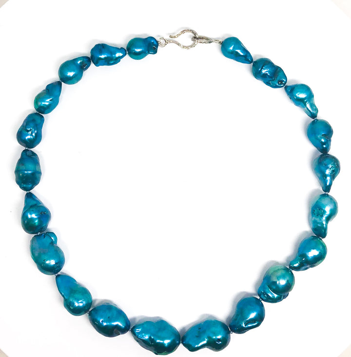 Crisp Blue Large Freshwater Pearl Necklace