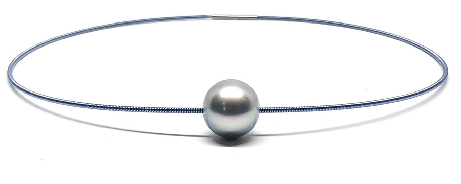 Galaxy Series - Large Tahitian Pearl on Steel Blue Wire