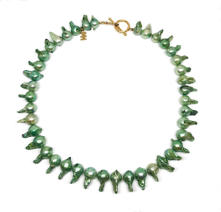 "Green Freshwater ""Tadpole"" Pearl Necklace"