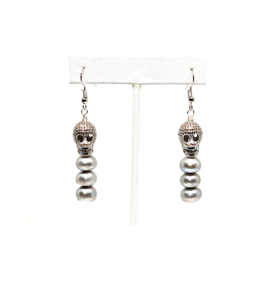Dia De Los Muertos Pearl Earrings