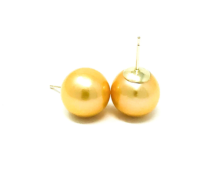 Large Yellow Freshwater Pearl Studs