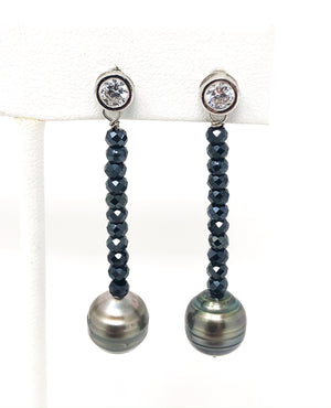 Tahitian Pearl and Spinel Earrings