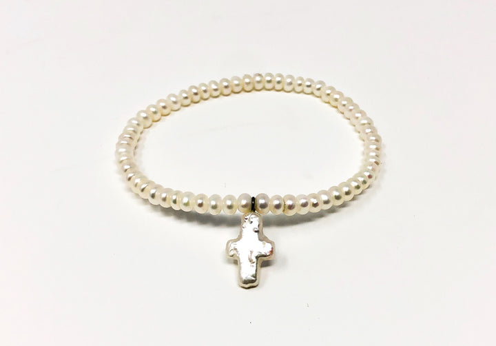 Small Freshwater Pearl Bracelet With Cross 6""