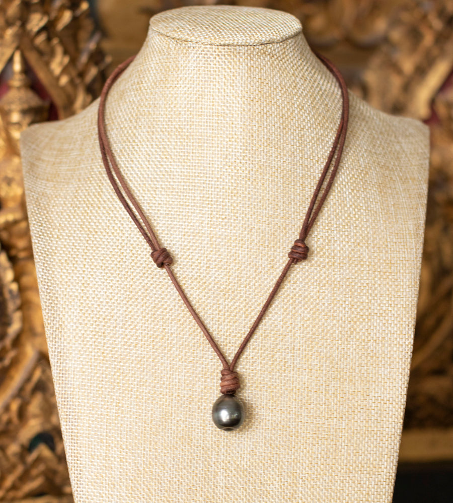 Large Tahitian Pearl on Leather Necklace