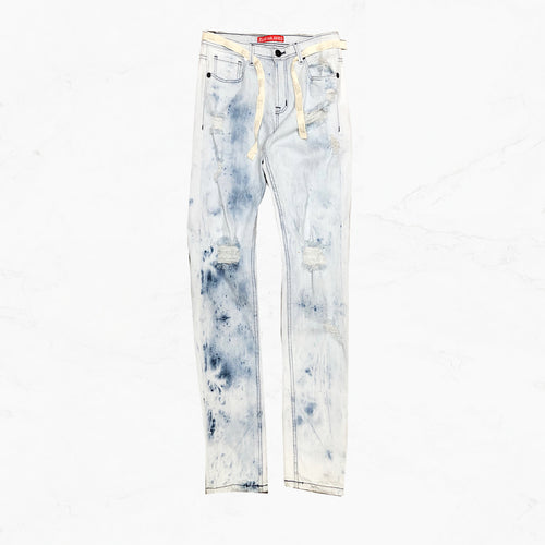 WE Blue Sky Denim Jeans with Twill Belt - mistermnm1