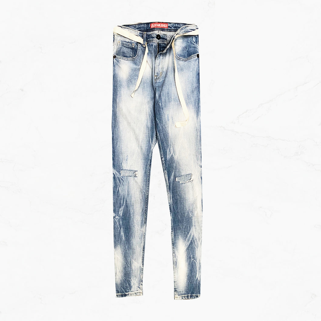 WE Bahamas Wash Denim Jeans with Twill Belt - mistermnm1