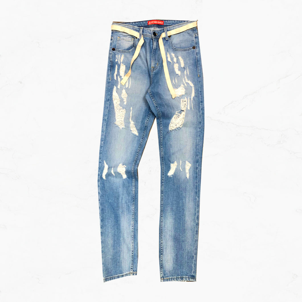 WE Star Meteor Denim Jeans with Twill Belt - mistermnm1