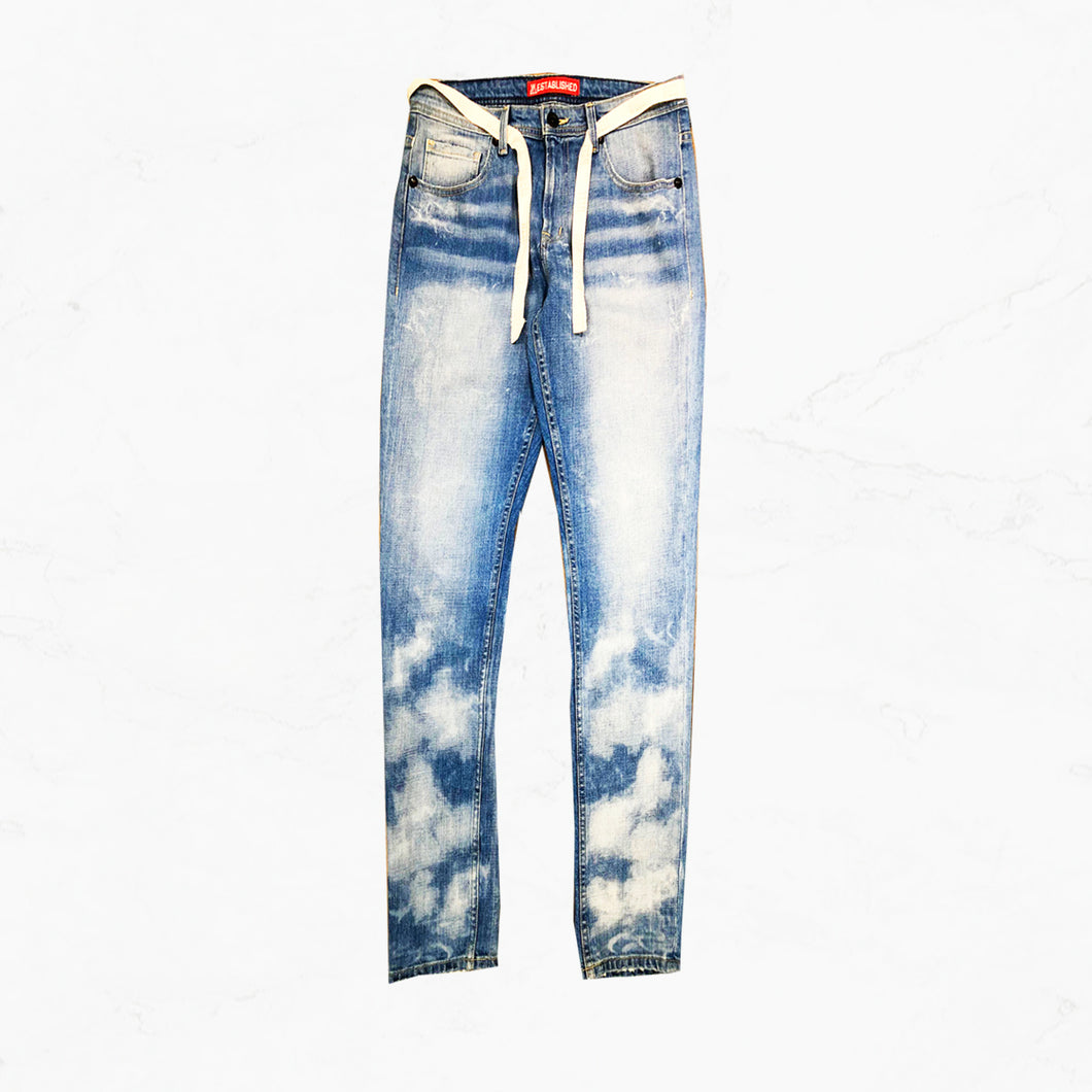 WE Star Moon Dust Denim Jeans with Twill Belt - mistermnm1
