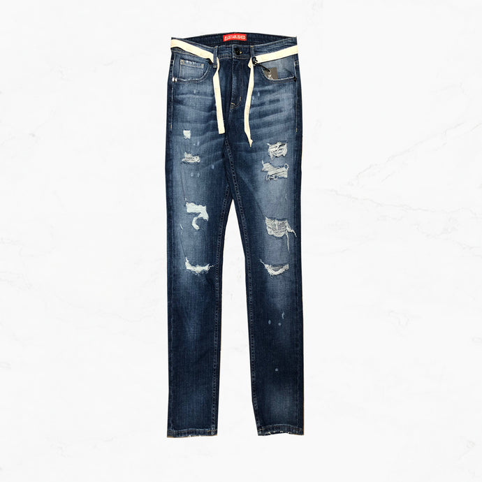 WE Star Dust  Wash Denim Jeans with Twill Belt
