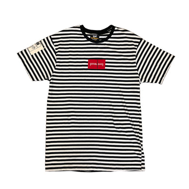 We Established Stripe Box Logo Tee- Black - mistermnm1