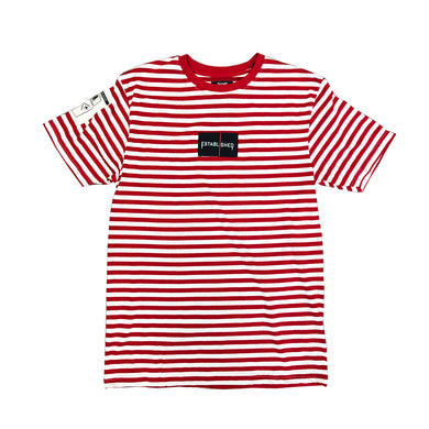 We Established Stripe Box Logo Tee- RED - mistermnm1
