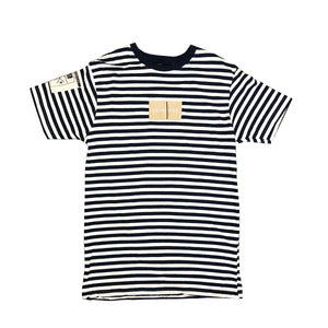 Wes Established Stripe Box Logo Tee- Navy - mistermnm1