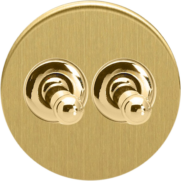 Double Toggle Switch - Brushed Brass