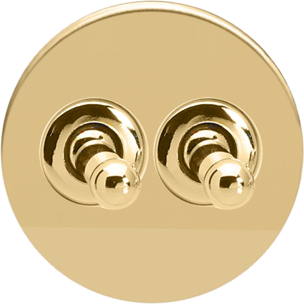 Double Toggle Switch - Polished Brass