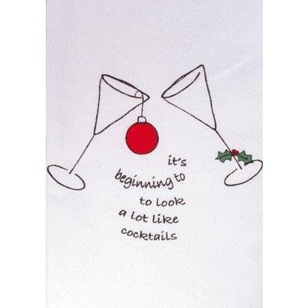 "Corkpops 00254 Holiday Bar Towel - ""Its Beginning To Look Like Cocktails"""
