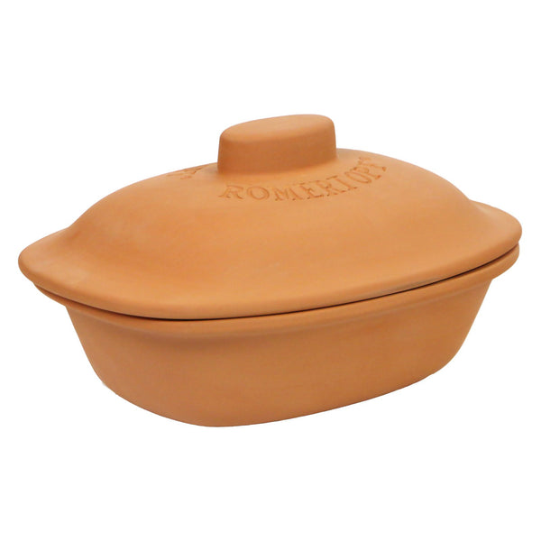 Romertopf Trend Series Glazed Natural Clay Cooker, Large, 4.1-Quart