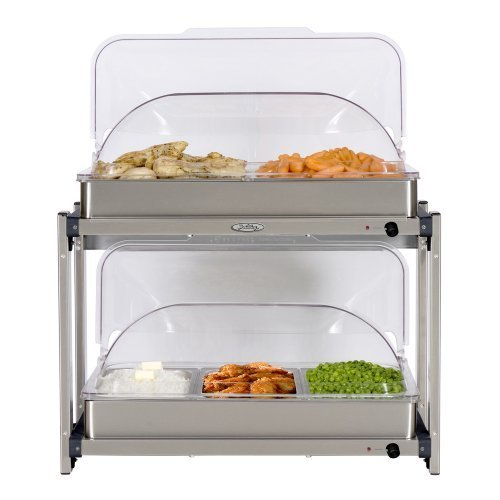 Broil King MLB-25RT Professional Multi-Level Buffet Server w/ Stainless Base & Rolltop Lids
