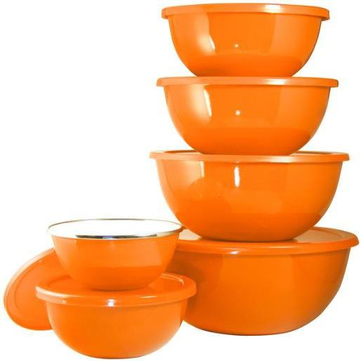 Calypso Basics 12-Piece Enamel on Steel Bowl Set with Airtight Lids, Orange