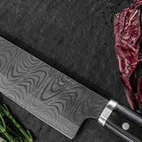 "Kyocera KTN-140-HIP Advanced Ceramic Premier Elite Series 5.5"" Santoku Knife Pakka Wood Handle-Black Blade"