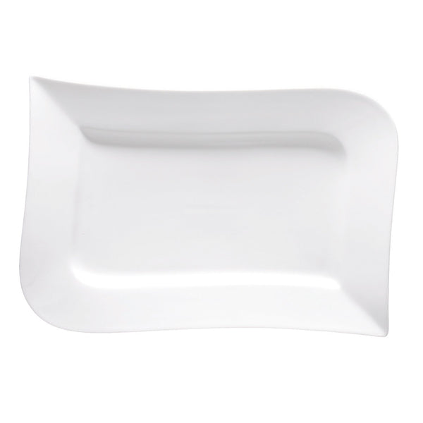 "Fortessa Fortaluxe SuperWhite Vitrified China Dinnerware 12.25"" Rectangular Platter"