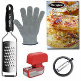 Microplane 36529 Traditional Kitchen Prep Set - Extra Course Grater, Straight Peeler, Cut Gloves & Garlic Mincer (5-Piece)