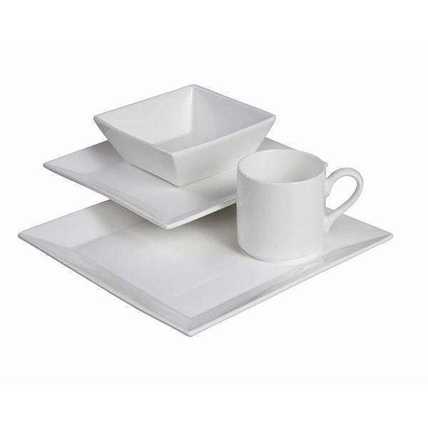 Fortessa Fortaluxe SuperWhite Vitrified China Dinnerware, Plaza 4-Piece Place Setting, Service for 1
