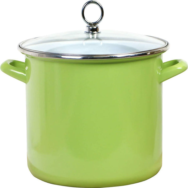 Calypso Basics Enamel on Steel Stockpot with Glass Lid, 8-Quart, Lime