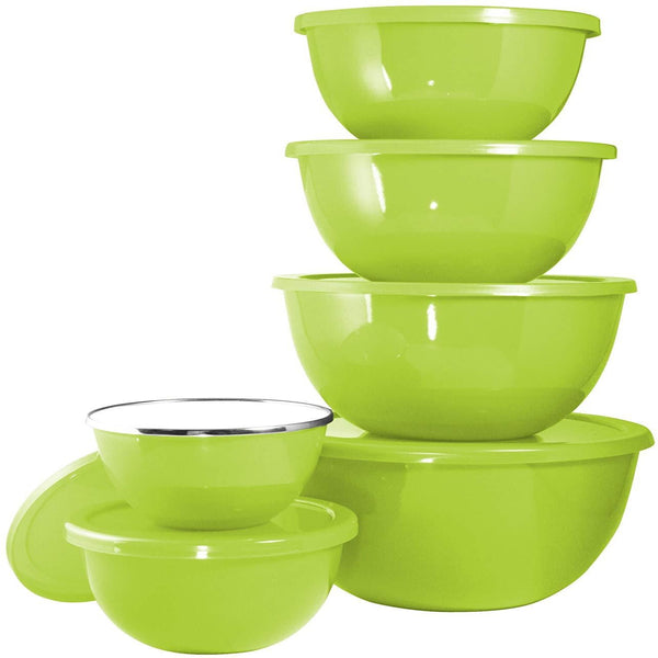 Calypso Basics 12-Piece Enamel on Steel Bowl Set with Airtight Lids, Lime