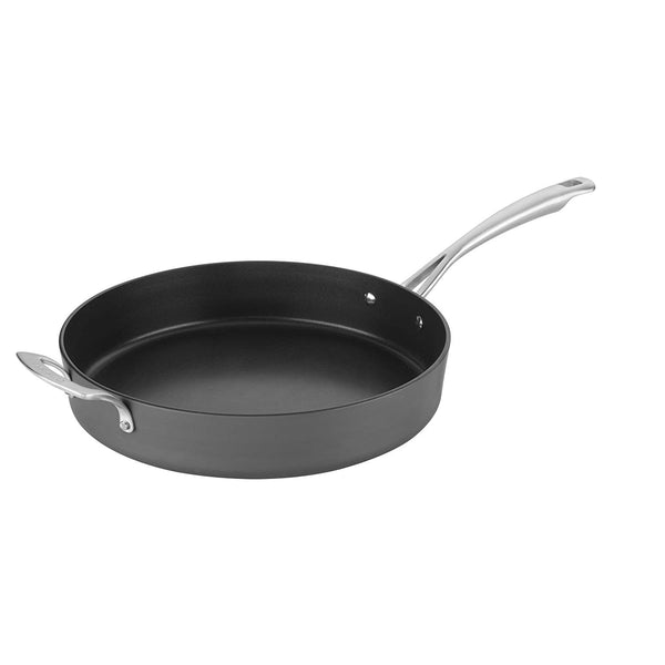 Cuisinart 62I22-30H Conical Hard Anodized Skillet with Helper, Medium, Black