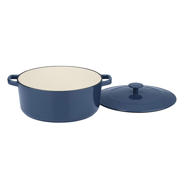 Cuisinart CI670-30BG 7 Qt Round Casserole, Covered, Enameled Provencial Blue