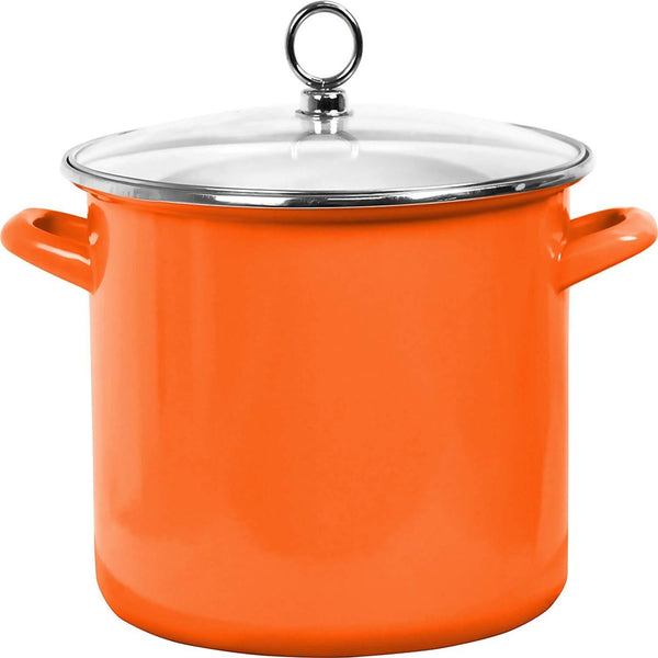 Calypso Basics Enamel on Steel Stockpot with Glass Lid, 8-Quart, Orange