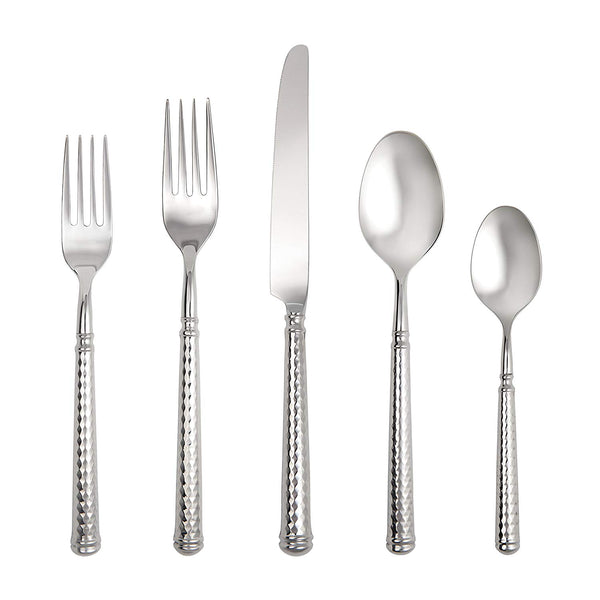 Fortessa Solitaire 18/10 Stainless Steel Hollow Handle Flatware 5 Piece Place Setting, Service for 1