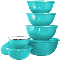 Calypso Basics 12-Piece Enamel on Steel Bowl Set with Airtight Lids, Turquoise