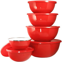 Calypso Basics 12-Piece Enamel on Steel Bowl Set with Airtight Lids, Red
